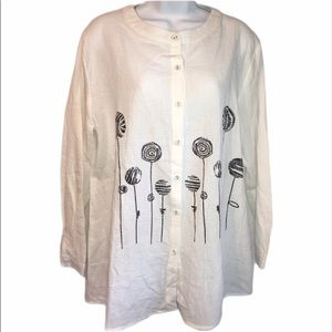 Oneine long sleeve top with black flowers NWT